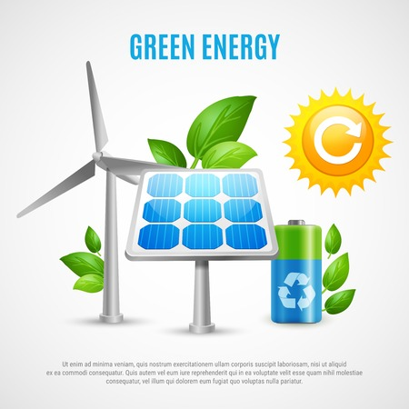 Green energy realistic vector illustration with wind turbines solar panels ecologically clean battery symbols