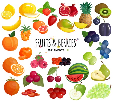 De mediterrane vruchten en de verse bessen van de landbouwersmarkt mengen kleurrijke 30 van de achtergrond pictogrammensamenstelling witte affiche vectorillustratie