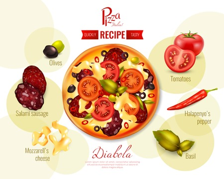 Pizza diabola recipe with tomatoes, pepper chili, olives, mozzarella, sausage, basil on background with circles vector illustration