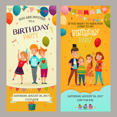 Kids birthday party 2 grappige verticale retro banners uitnodigingen set met datum tijd decoraties geïsoleerde vector illustratie Stock Illustratie