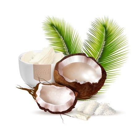 熟した割れたココナッツ椰子の葉と白い背景の現実的なベクトル図にバターのボウル