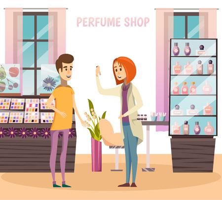 Composizione di negozio di profumi con il venditore consiglia l'acquirente all'illustrazione vettoriale del negozio Vettoriali