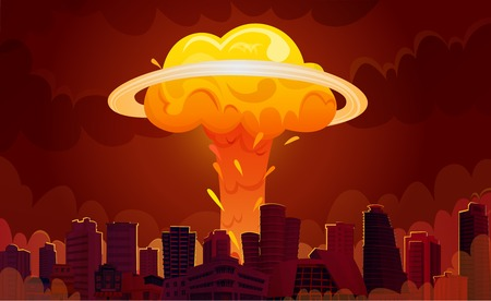 Downtown city center skyscrapers with bright orange fiery nuclear explosion mushroom clouds retro cartoon poster vector illustration Vectores