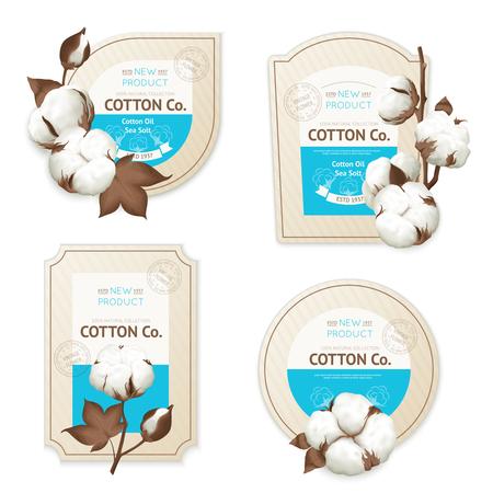 Set realistico di icona del pacchetto di emblemi di cotone con illustrazione vettoriale illustrazione morbida del mare di cotone