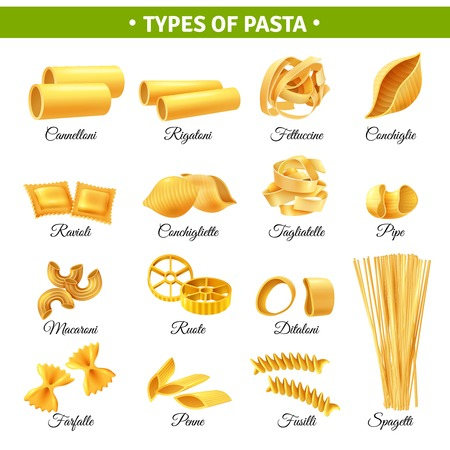 Infografía realista con tipos de pasta italiana y sus nombres aislados en fondo blanco ilustración vectorial