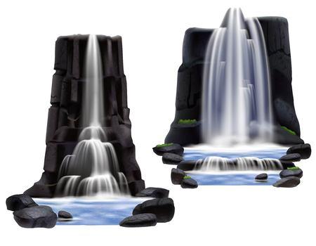 La composizione realistica colorata delle cascate ha messo per sviluppo del gioco e sta costruendo due varianti differenti vector l'illustrazione Archivio Fotografico - 82517408