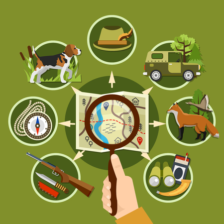 Professional hunter and equipment concept with animals rifle and compass flat vector illustration Illustration