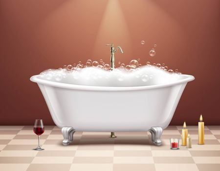 Realistic white bathtub with foam composition romantic atmosphere with a glass of wine and candles vector illustration Stock Illustratie