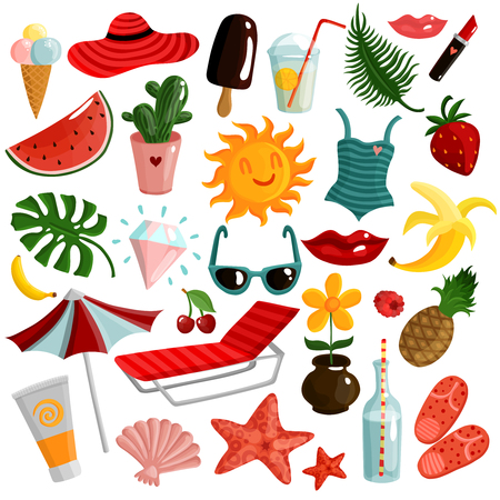 Set of summer accessories with sunbed, umbrella, sunscreen, swimsuit, ice cream, fruits, palm leaves isolated vector illustration