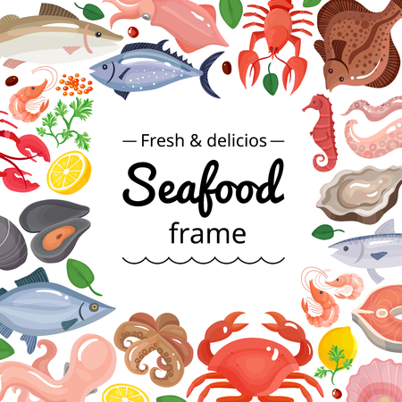 Seafood background frame with isolated images of marine food products with empty square place for text vector illustration Illusztráció