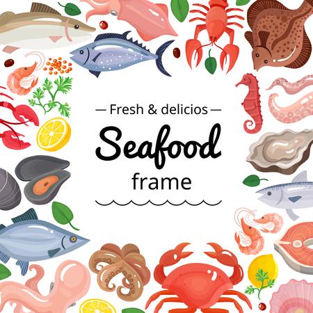 Struttura di sfondo di frutti di mare con immagini isolate di prodotti alimentari marini con posto vuoto quadrato per illustrazione vettoriale di testo Archivio Fotografico - 82520347
