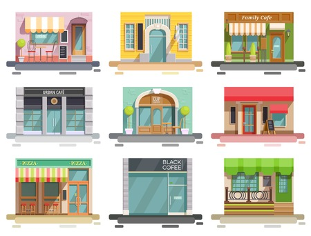 Cafe flat collection of nine isolated doodle style images with storefronts and different interior design elements vector illustration