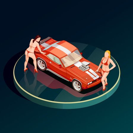 Auto show car showroom composition with circle podium and two female models topless near sports car vector illustration