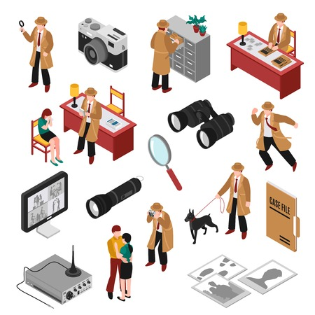Detective isometric set with client, workplace and equipment, search with dog, case file, photos isolated vector illustration Illustration