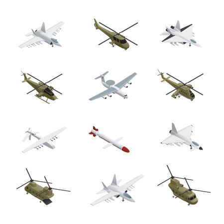 Jeu d'icônes isométrique armée de l'air militaire avions et hélicoptères avec différents types de couleurs tailles et objectifs Banque d'images - 82884736
