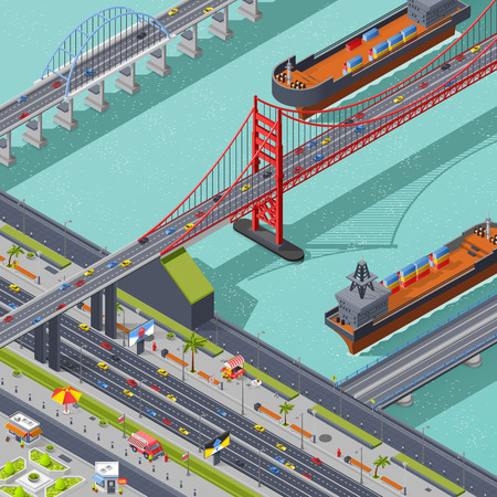 Bridges isometric composition with city traffic road and ships vector illustration Illustration
