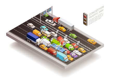 Ruchu drogowego widoku isometric odgórnego widoku pojęcie z stoplight samochodami i ciężarówkami na multilane jezdni wektoru ilustraci