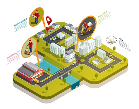 Delivery isometric concept with residential district with warehouse and courier delivery motorcyclist spots with uav drone vector illustration