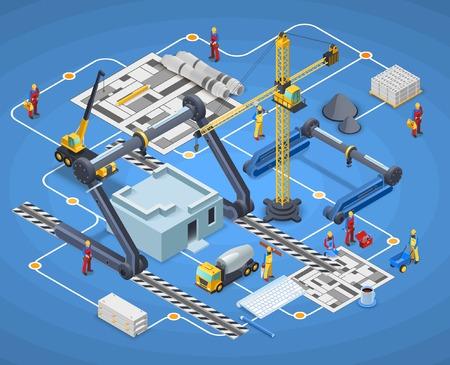 Stampa composizione isometrica con edifici e edifici di costruzione su sfondo blu illustrazione vettoriale