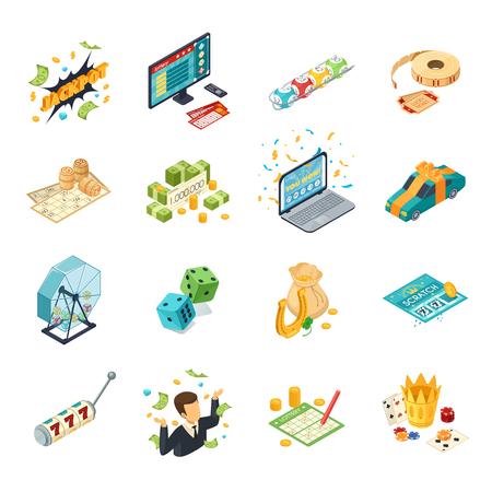 Lotería isométrica iconos conjunto con jackpot símbolos aislados ilustración vectorial Foto de archivo - 82937499