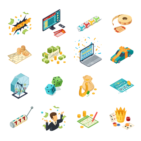 Lottery isometric icons set with jackpot symbols  isolated vector illustration