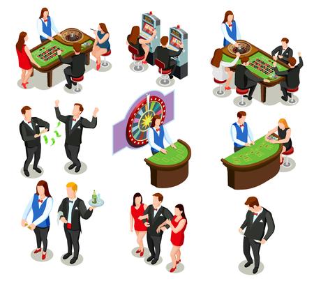 Casino isometrische farbige dekorative Symbole mit Croupier und Gamer spielen Roulette Poker und Spielautomat isoliert Vektor-Illustration Standard-Bild - 82936365