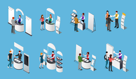 Isometric set of promotional stands and people with products and handout on blue background isolated vector illustration