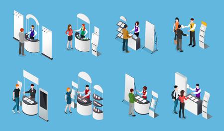 Ensemble isométrique de stands promotionnels et de personnes avec des produits et des documents sur fond bleu illustration vectorielle isolée Vecteurs
