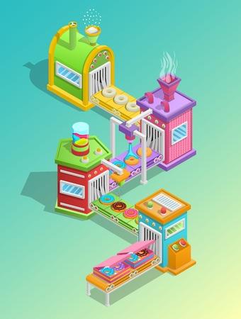 Concepto de dibujos animados de fábrica de confitería con donuts y dulces producción símbolos ilustración vectorial Foto de archivo - 82884675