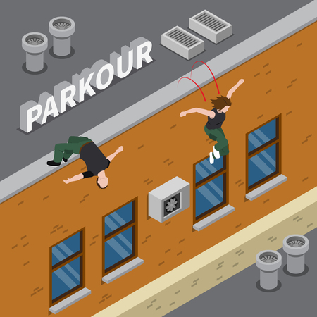 Parkour isometric design with man and girl in dark clothing jumping from roof of building vector illustration