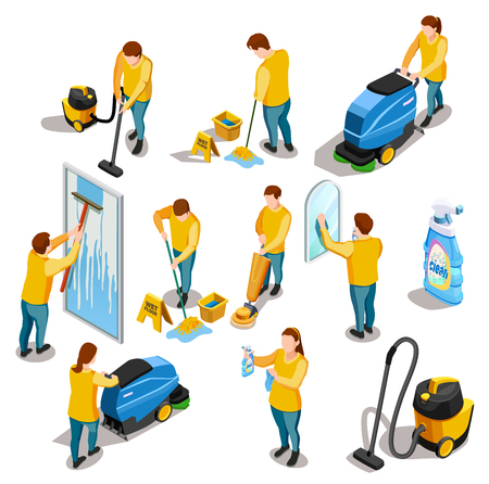 Cleaning people isometric colored icons set with men and women washing and vacuuming isolated vector illustration