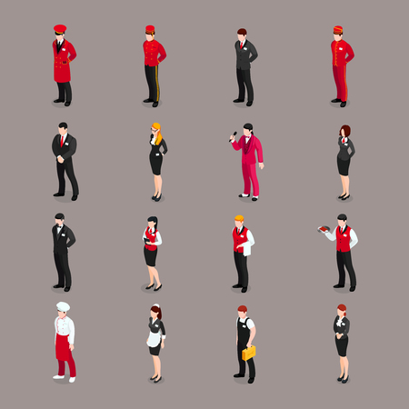 Valet set of isolated hotel employee characters bell attendants waiters receptionists and chambermaid in appropriate uniform vector illustration