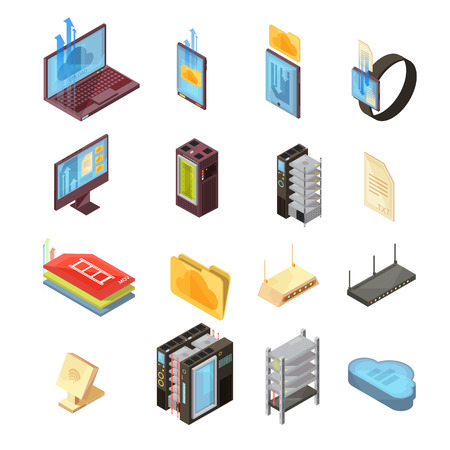 Data cloud isometric set with files, transfer information, computer and mobile devices, server, router isolated vector illustrations