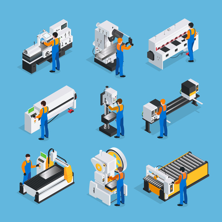 Metalworking people isometric set with factory worker characters and isometric images of industrial metal-working machinery vector illustration