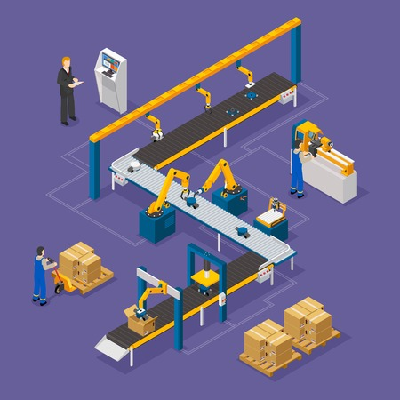Factory composition with conveyor line on green background isometric vector illustration