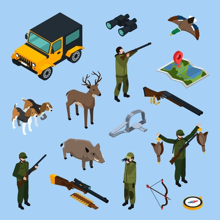 Colored and isolated hunting isometric icon set with attributes equipment and means of transport vector illustration
