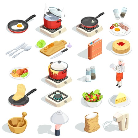 Cooking icons isometric set of sixteen isolated images of food dishes spice kitchenware and cook character vector illustration Illustration