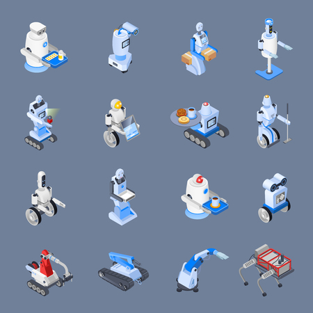 Robot isometric professions set of isolated icons with futuristic robotic workers of industrial and service sector vector illustration Ilustração