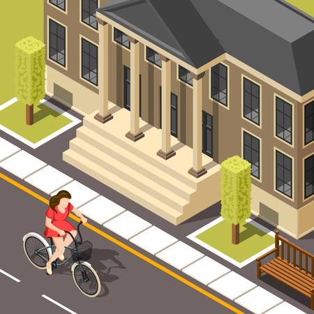 Fietser isometrische achtergrond met jonge meidrijden fiets binnen stad verleden huis met kolommen vector illustratie