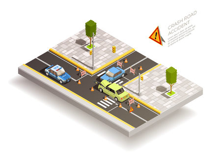 Crash road accident isometric composition with two broken cars after collision with traffic cones and signs vector illustration Zdjęcie Seryjne - 82885802