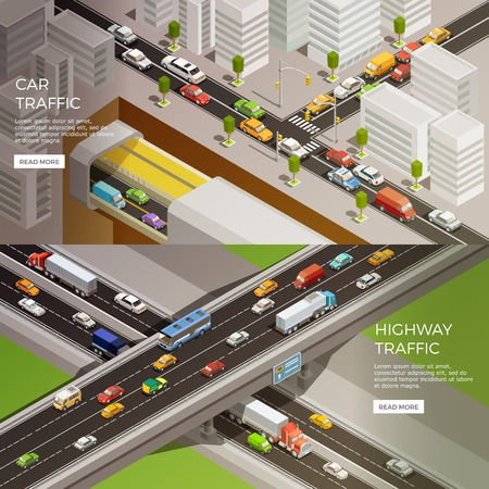 Road elements isometric banners set with urban scenery highway and car images with read more button vector illustration