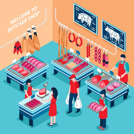 Butcher shop inside isometric design including desks with meat products and prices sellers and customers vector illustration