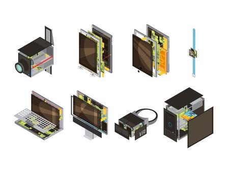 Gekleurde gadgets schema isometrische icoon set met computer reserveonderdelen en microcircuit vector illustratie