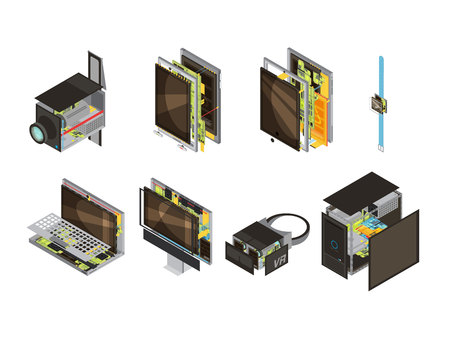 Colored gadgets scheme isometric icon set with computer reserve parts and microcircuit vector illustration Illustration