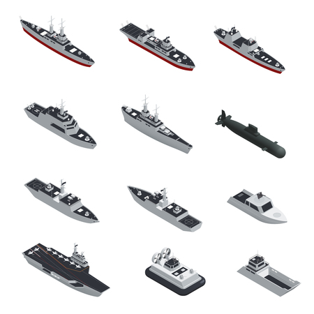 Dark color military boats isometric isolated icon set for different types of troops vector illustration Çizim