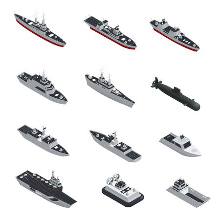 Dunkle Farbe militärische Boote isometrische isoliert Icon-Set für verschiedene Arten von Truppen Vektor-Illustration Vektorgrafik