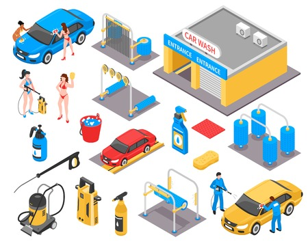 Car wash isometric set with garage, vehicles, cleaning equipment, detergents, girls in bikini, workers isolated vector illustration