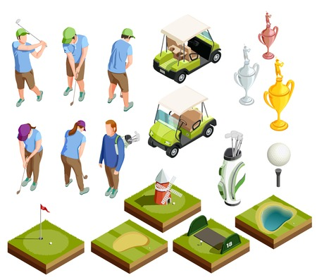 Golf colored isometric decorative icons set of  tournament prize cabriolet course areas golfers putters isolated vector illustration