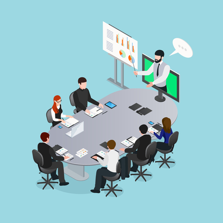 Online conference concept including lecturer with pointer in monitor and audience behind grey table isometric vector illustration Иллюстрация