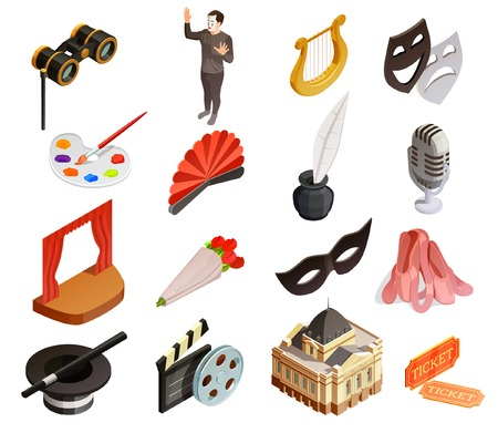 Theatre icon isometric set of sixteen isolated vintage style symbolic images representing different fields of art vector illustration Illustration